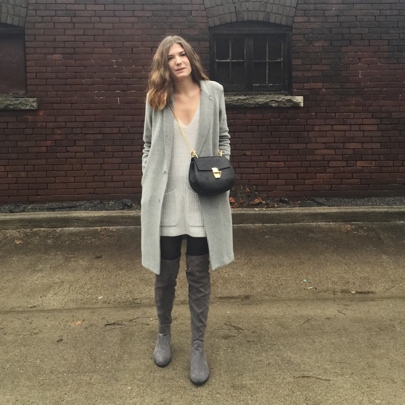 a5795a6cc99 I finally found a good looking + affordable pair of over the knee boots!  They aren t anything fancy (faux suede from Forever 21) but they were a  bargain and ...